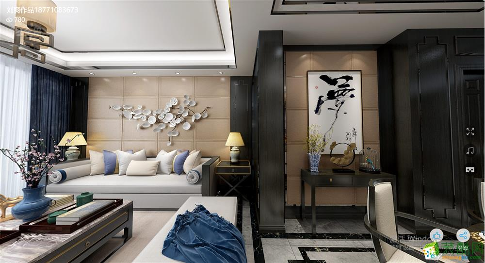 南湖一號165㎡四室兩廳新中式風格作品