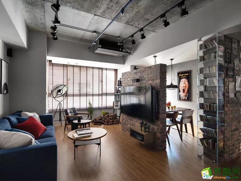 长沙70平米现代工业风格一室一厅装修效果图