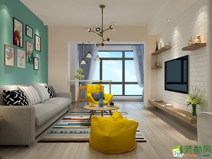 北欧风格三居室122平装修效果图