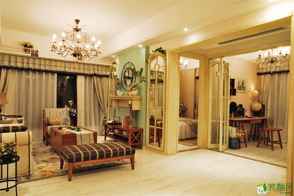 合力達卓越南城103平米田園風格三居室裝修案例圖片