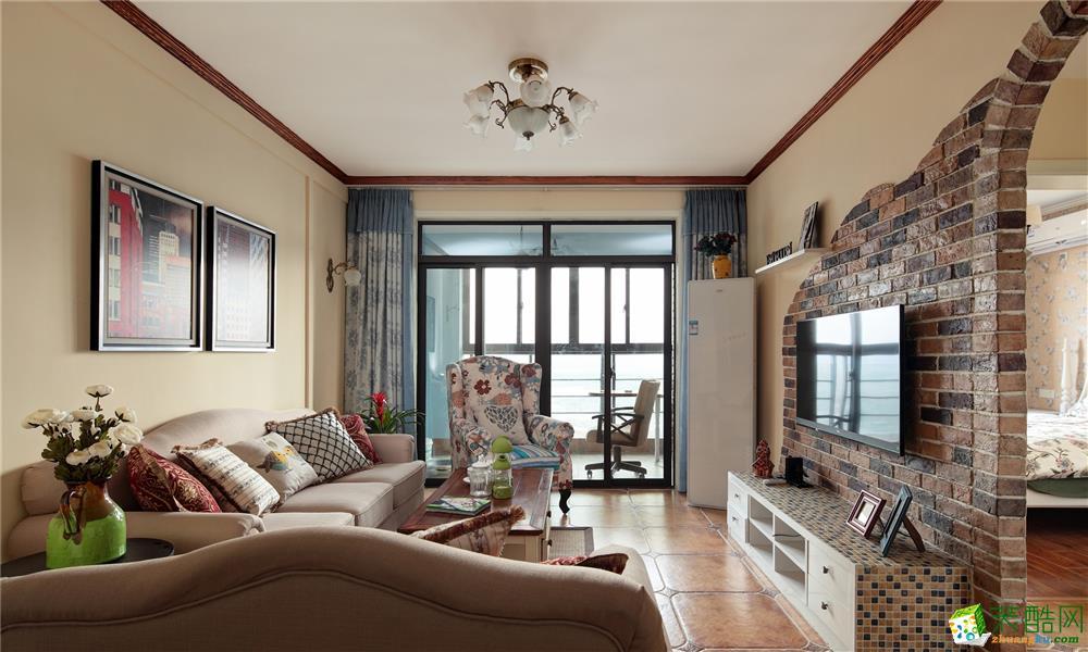 藝錦灣100平米田園風格三室兩廳裝修案例圖片