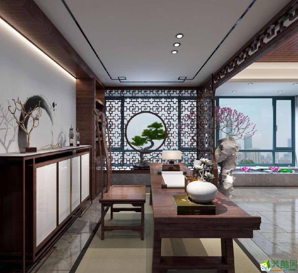 青岛140�O现代中式四居室装修效果图