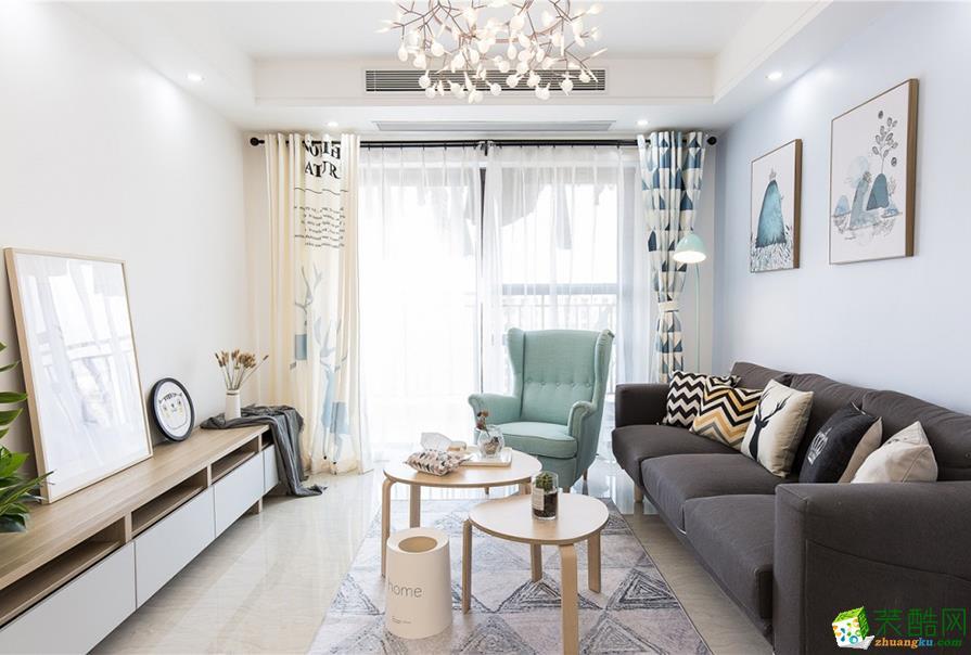 天津89平米北欧风格三居室装修案例图