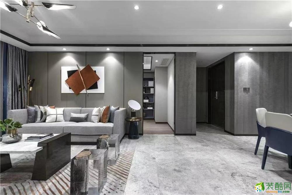 天津现代轻奢140平米三居装修案例图