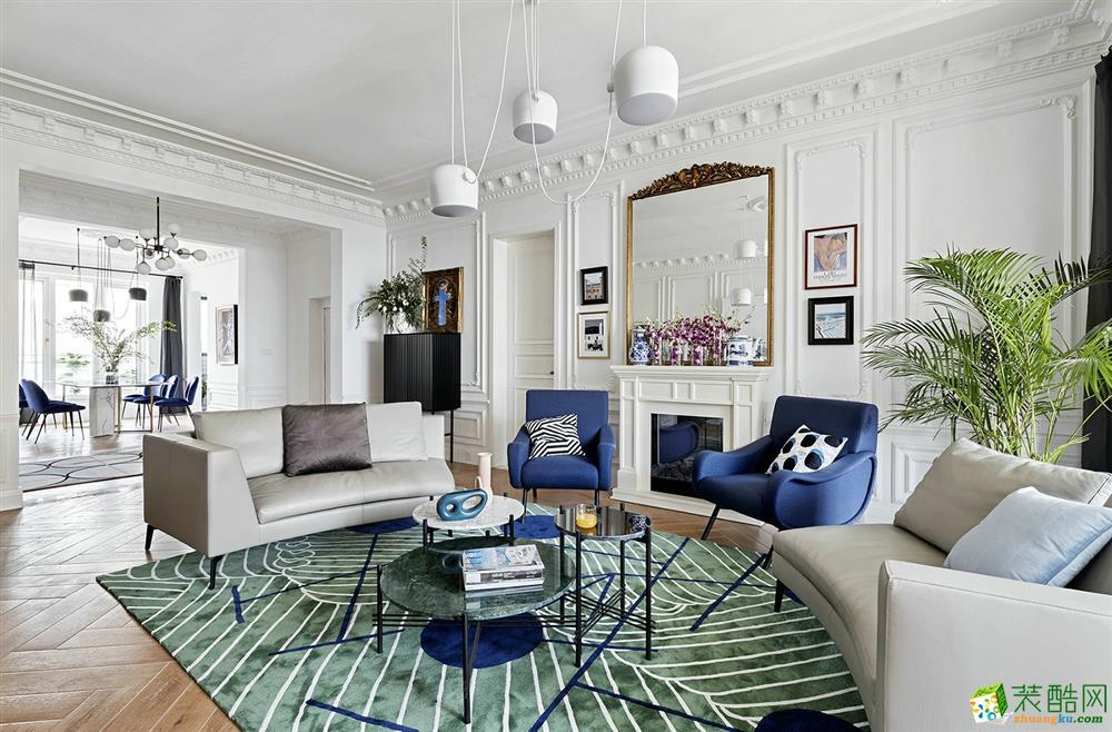 金雅庭裝飾66平米二居室法式風格裝修案例