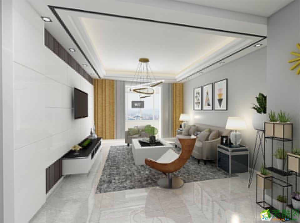 海口100平米现代简约风格两室两厅装修案例效果图片