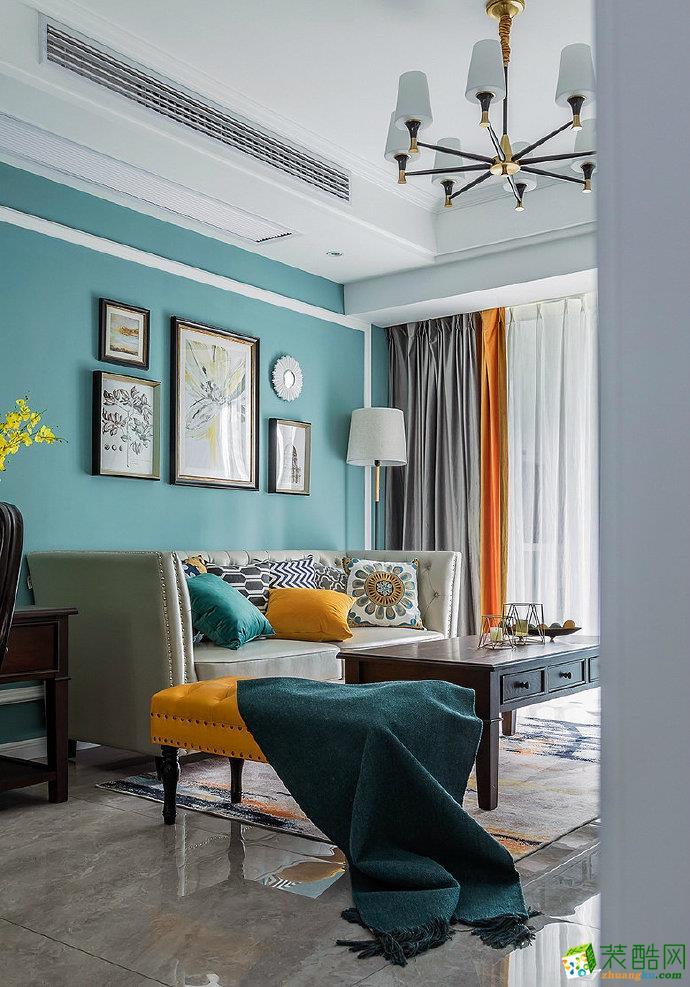 89㎡簡約美式風格三居室設計效果圖片