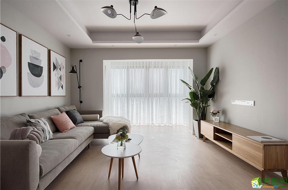 西安天朗久悦都-85平米简欧两室一厅装修效果图