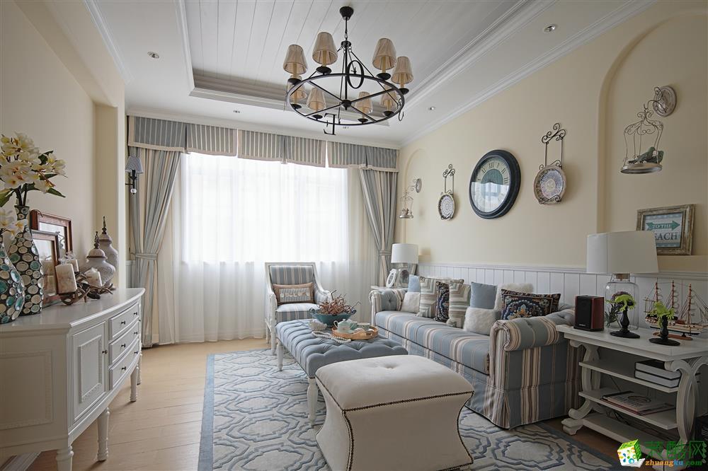 蓝光公园锦汇124平米地中海风格三居室装修案例图片