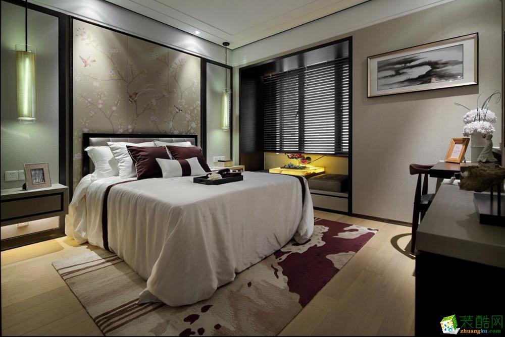 万科悦峰108㎡新中式三居室设计案例效果图片