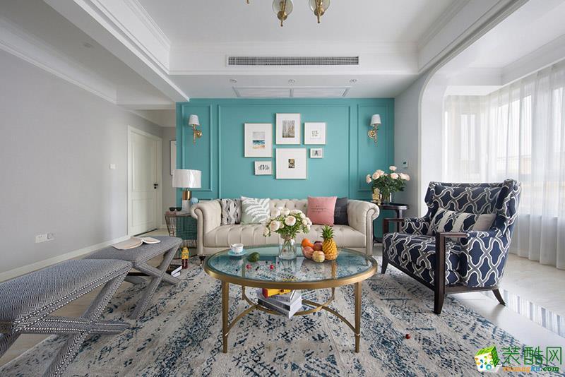 凤凰湾103�O美式风格三居室装修案例图片