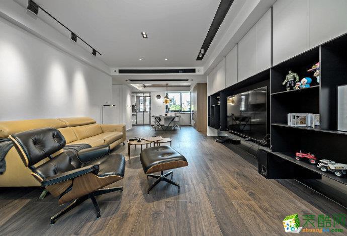 重庆100�O现代风格三居室装修设计案例图片