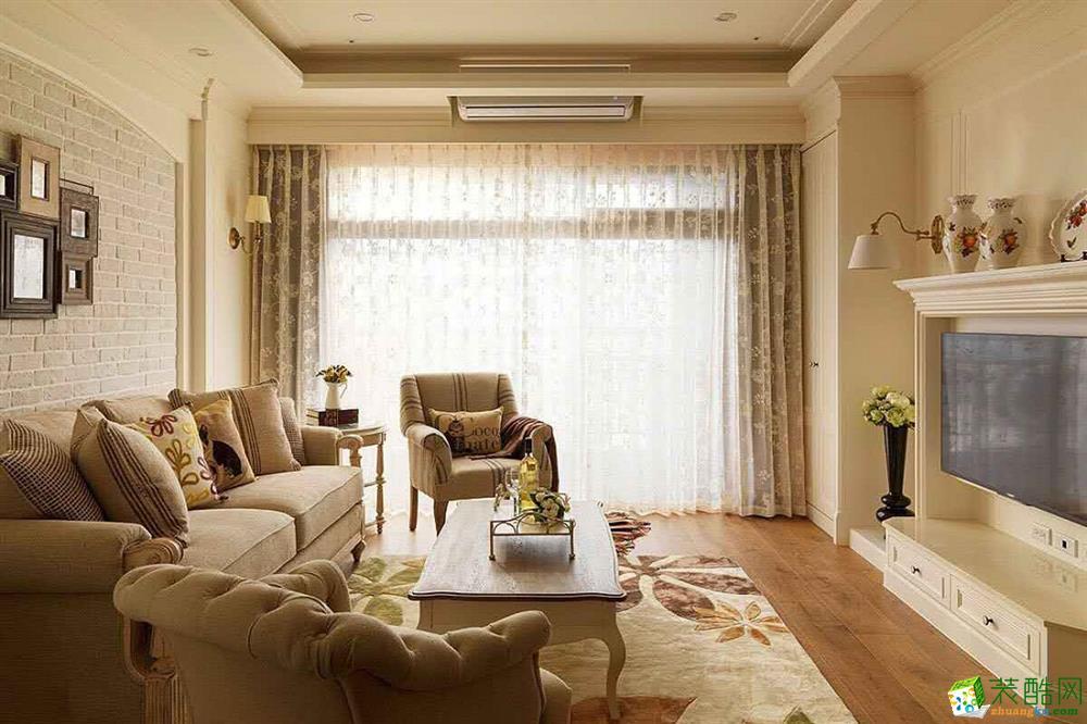 万科四季花城117平米美式风格三室两厅装修效果图片