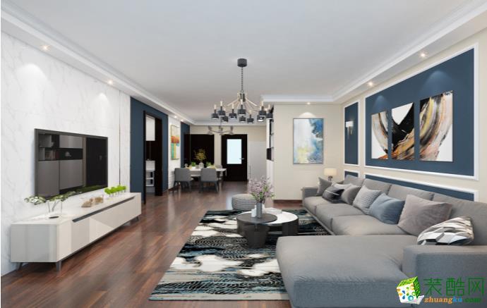 六安120平三室现代风格装修效果图-七号公馆装饰