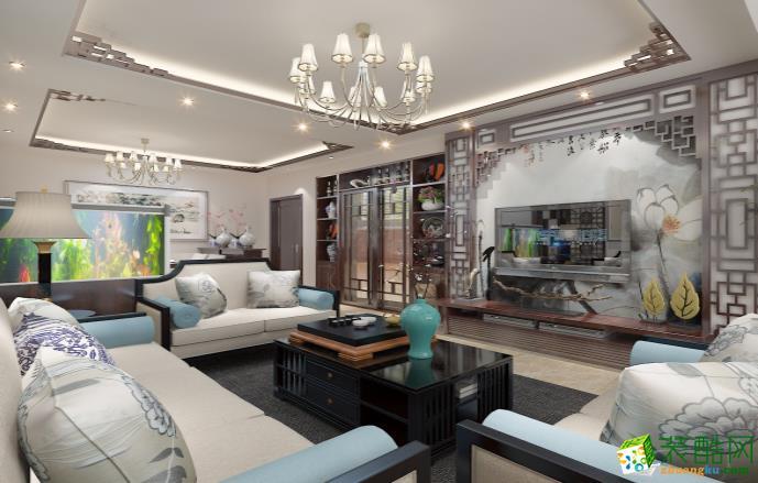 九江120平三室中式风格装修效果图--好易家装饰