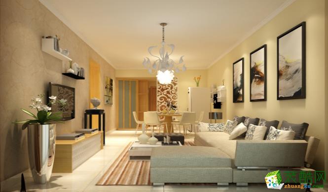 九江104平三室现代简约风格装修效果图--好易家装饰