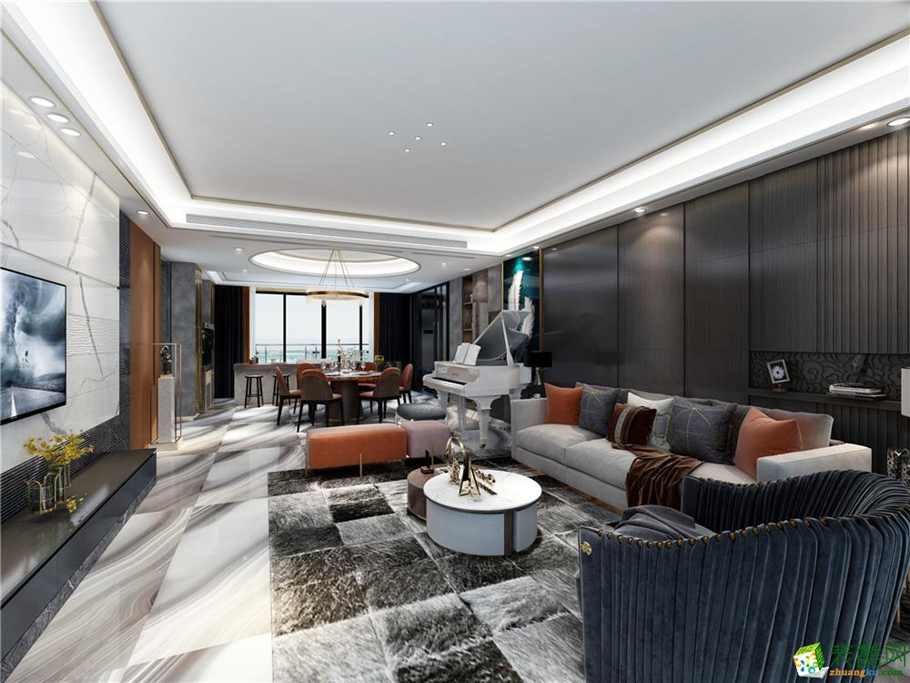 广州220平米现代风格四居室装修案例图片