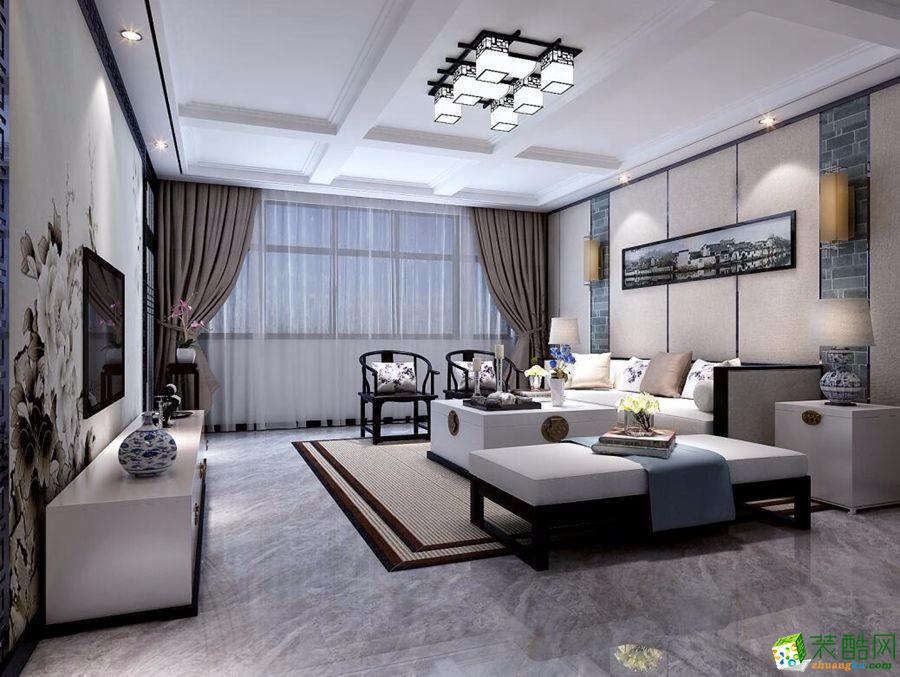 上海125平米新中式风格三居室装修效果图片