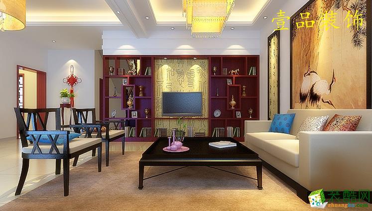 六安双墩康居园125平新中式风格装修效果图-壹品装饰