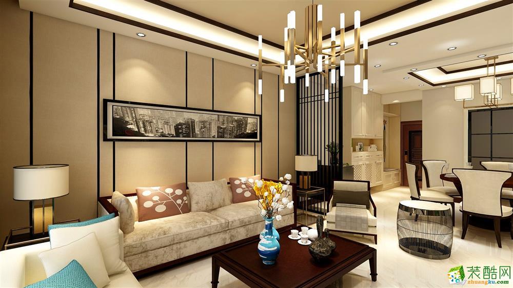 110㎡三居室新中式风格装修效果图