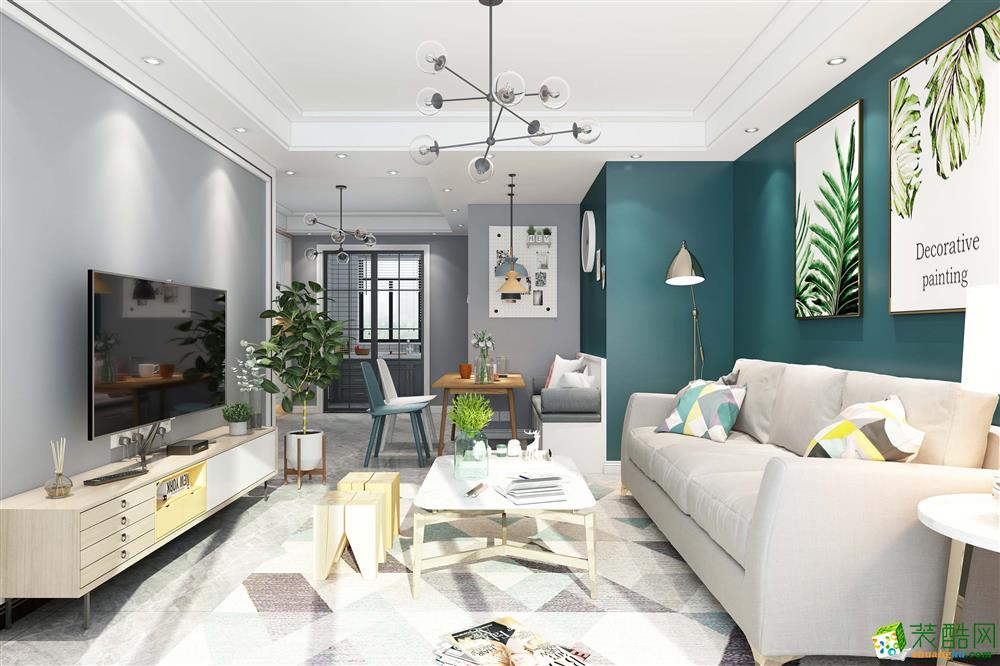 黄泥坞60㎡两室一厅一卫北欧风格装修设计效果图