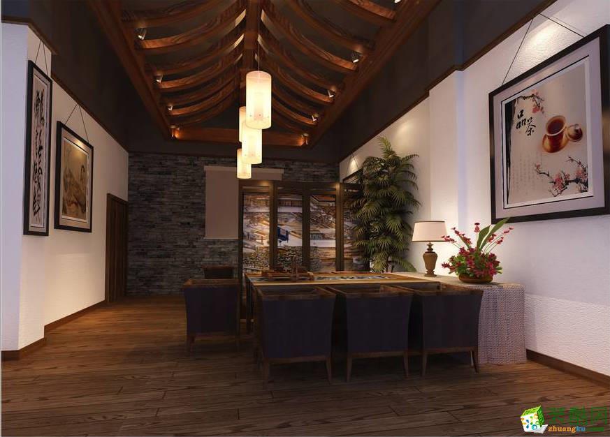 濟南茶館茶樓茶莊茶室茶文化會所200平中式風格裝修效果圖