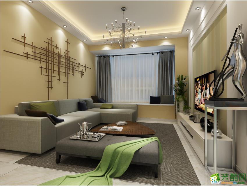 南充91平米田園風格三居室裝修效果圖片