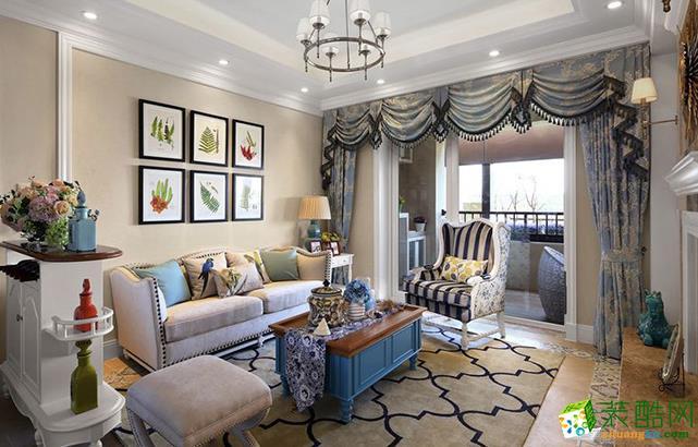 江阴120平米美式风格三室两厅装修效果图