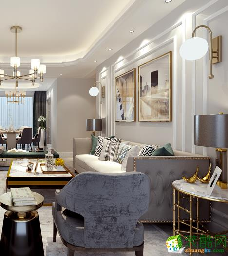 西安唐頓莊園175平四室中式風格裝修效果圖
