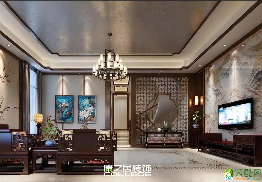 紫金城117平古典优雅新中式装修案例效果图