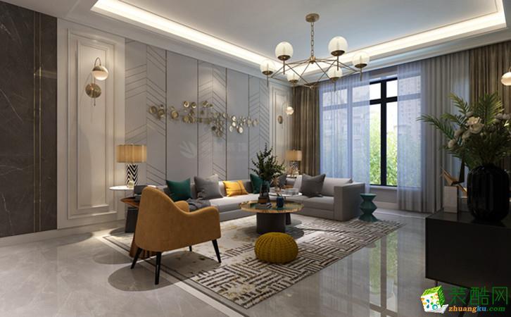 西安保利心语花园-130平米轻奢风格三室两厅装修效果图