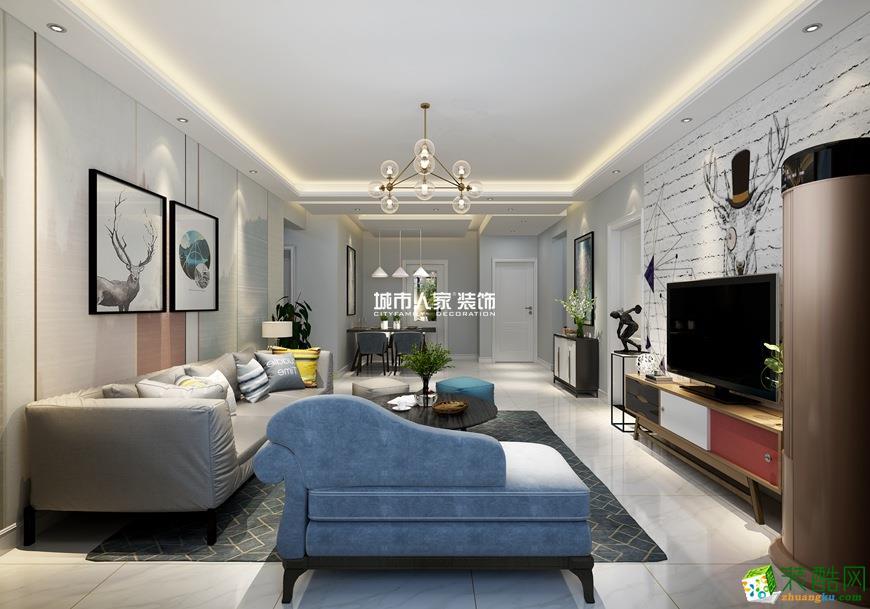 西安龍記九璽-120㎡現代簡約三室一廳一衛裝修效果圖