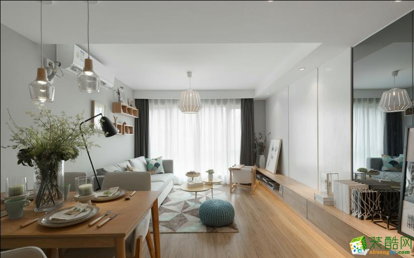 太原肖邦國際88平米兩室北歐風格裝修效果圖