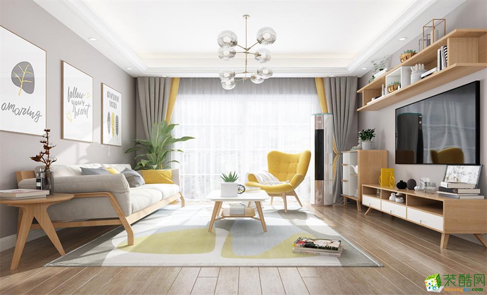 武汉87㎡两室一厅一卫简约风格装修设计效果图