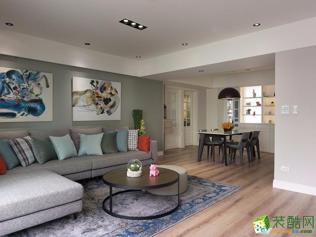 西安绿地与湖-116平米现代简约三室两厅两卫装修效果图