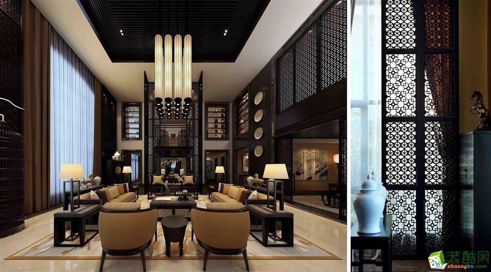 广州430平米中式风格别墅装修效果图