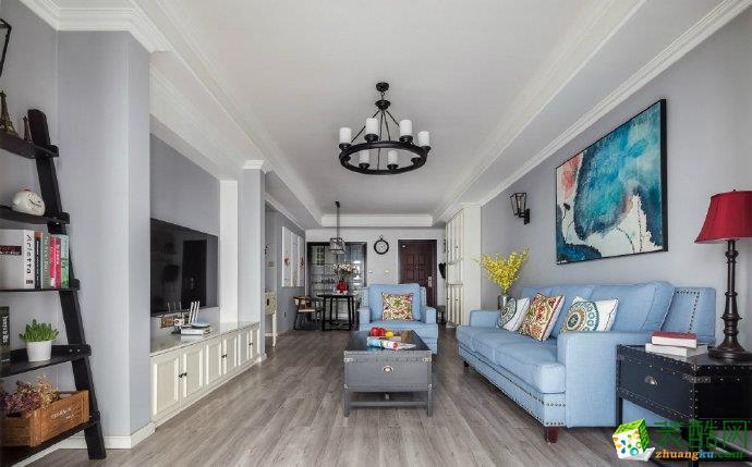 重庆100平米美式混搭风三居室装修效果图