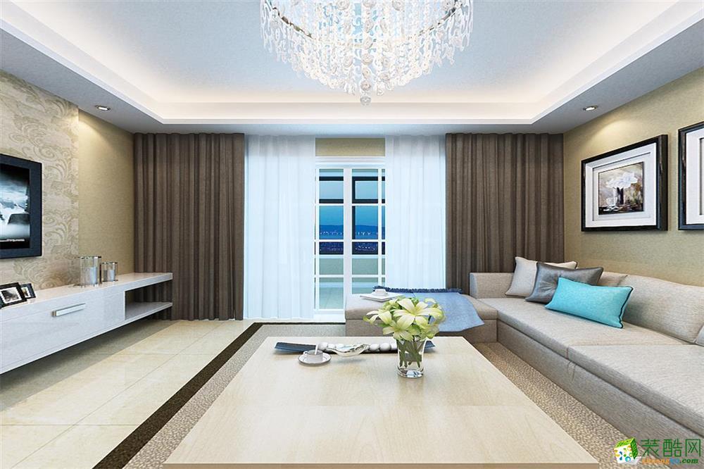简欧风格89平三居室装修案例图