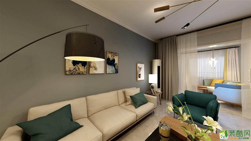 西安130平米现代风格三室两厅两卫装修效果图