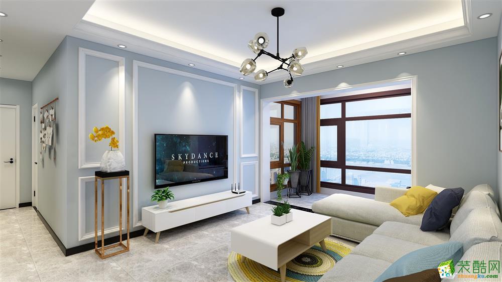 90平米三室现代风格装修效果图
