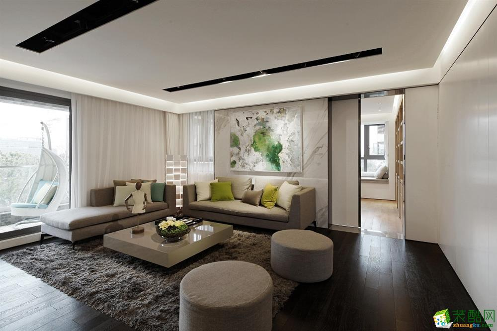 上海150平米現代風格三室兩廳裝修效果圖_現代風格-三室兩廳兩衛