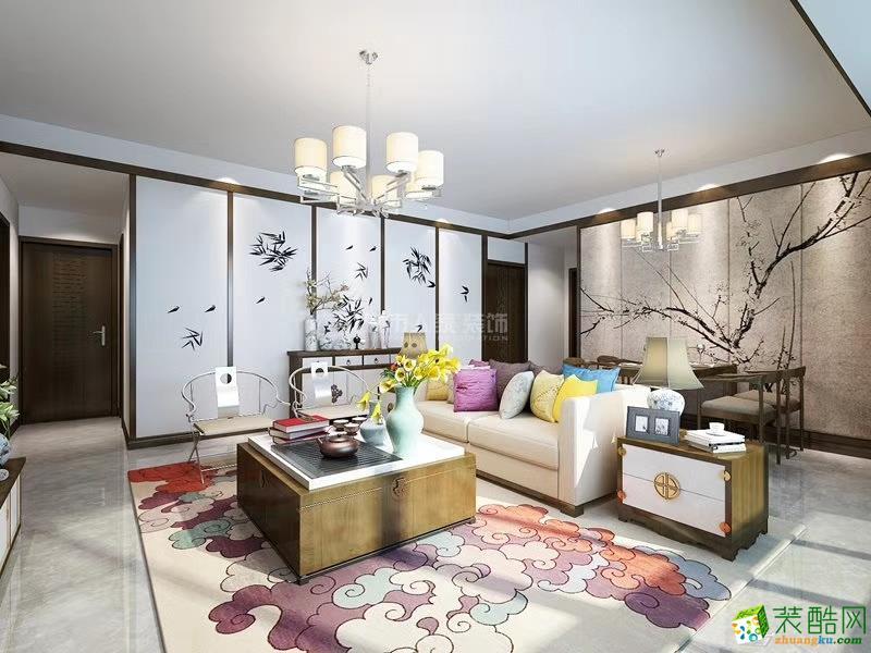 西安浐灞半島-130平米新中式風格三室兩廳兩衛裝修效果圖