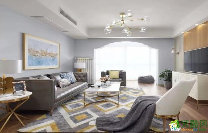 常州125平三室美式风格装修效果图-吉宏装饰