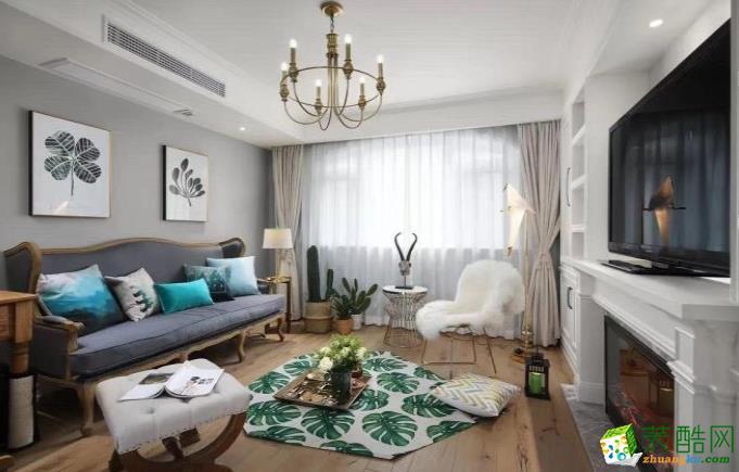 樂山125㎡三室美式風格裝修效果圖-點石裝飾