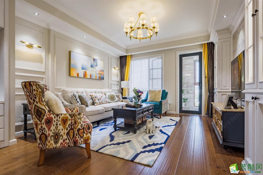 郑州芍药居小区93�O两居室美式风格装修效果图