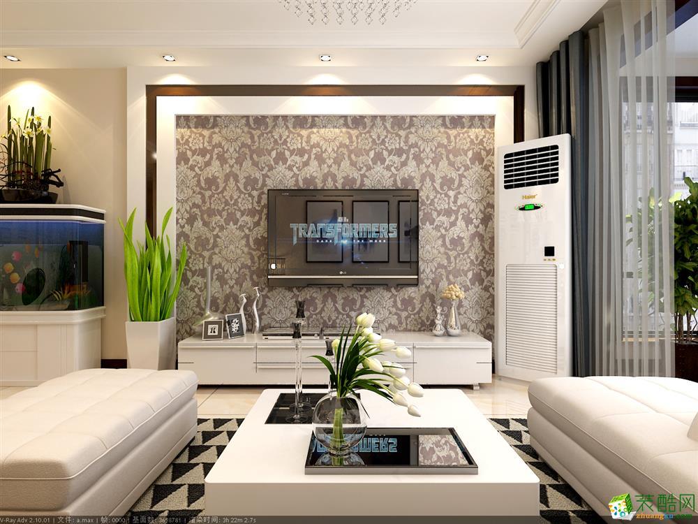 青岛107平米简约风格三室两厅装修效果图