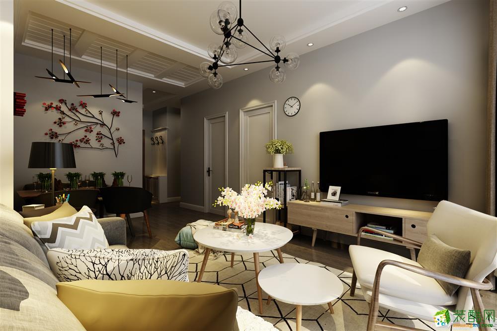 青岛77平米北欧风格两居室装修效果图