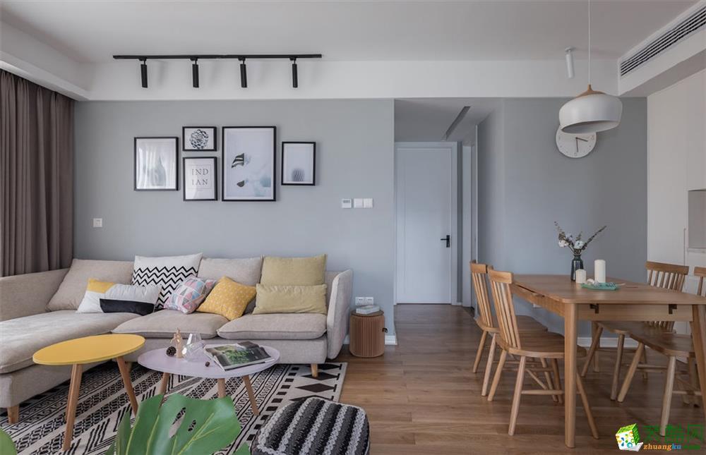 福州安家装饰-北欧三室92平装修案例效果图