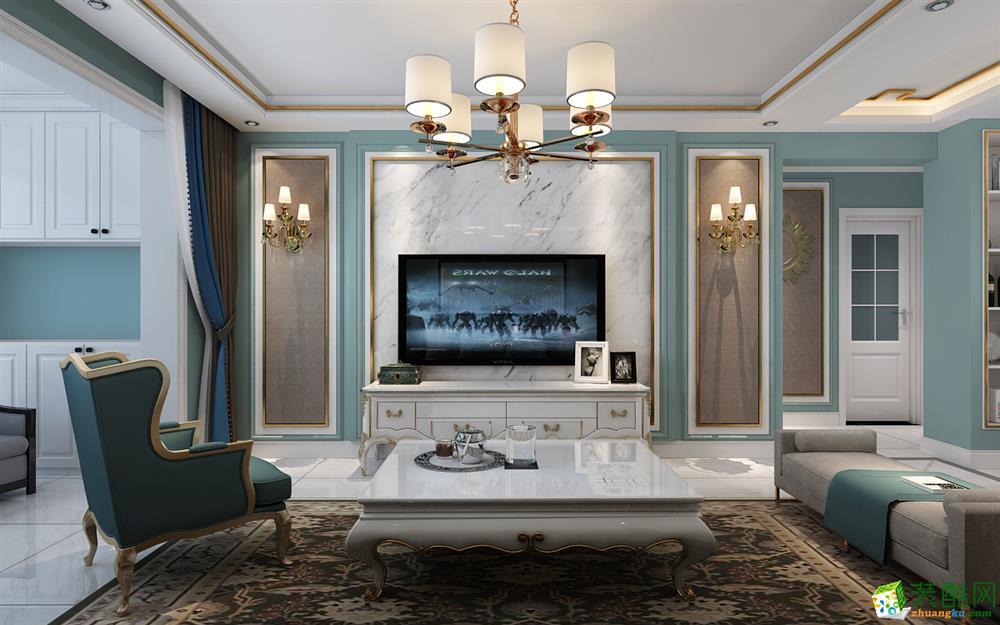 太原保利香槟130平三室中式风格装修效果图