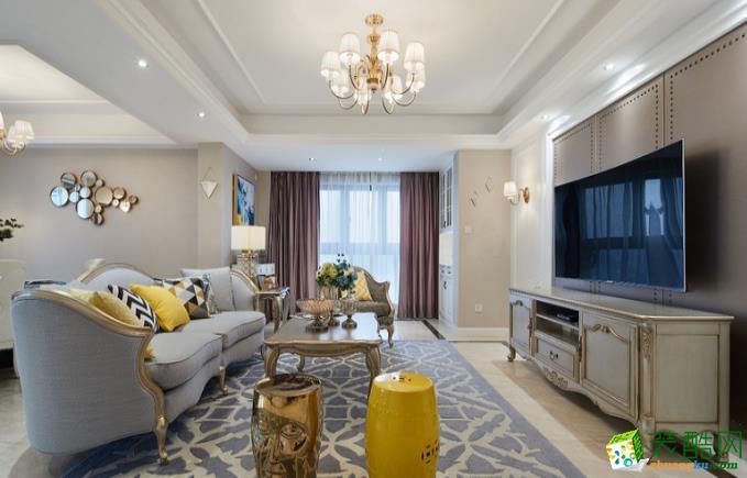 六安95�O 三室美式轻奢风格装修效果图-八方门装饰